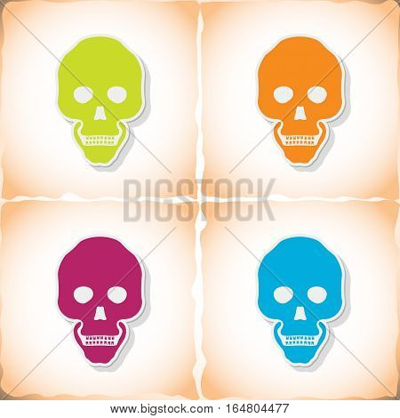 Human skull. Flat sticker with shadow on old paper. Vector illustration
