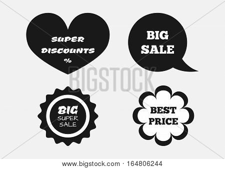 A set of stickers with the text Super Discount Big Sale Best Price. Four isolated banner. White black.