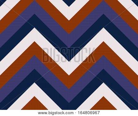 Striped, zigzagging seamless pattern. Zig-zag line texture. Stripy geometric background. Orange, blue, white contrast colored. Vector