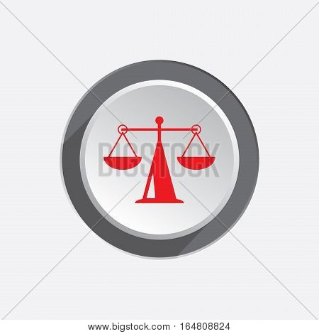 Scales web icon. Justice, weight, balance symbol. Red silhouette on three dimensional round white gray button with shadow. Vector