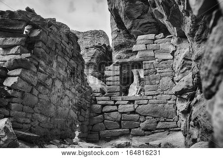 Looking into the remains of an Ancesteral Puebloan room. Part of an ancient pueblo in Canyons of the Ancients National Monument.