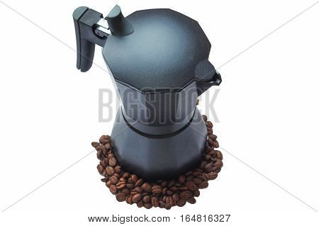 geyser coffee maker with coffee beans isolated