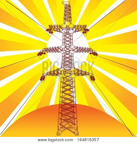 Transmission line with sun rays on background, vector illustration