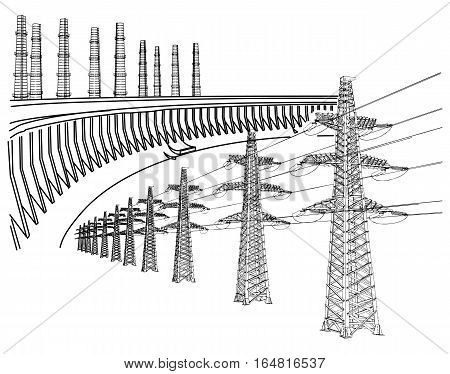 Power Transmission Line. Dnieper hydro power plant. Thermal energy. Factory, power plants and industrial buildings. Vector illustration