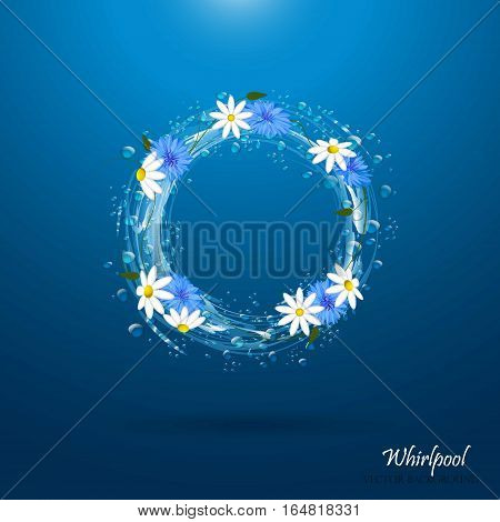 Water circle with flowers. Whirlpool, realistic water droplets Vector illustration