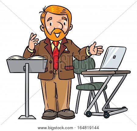 Childrens vector illustration of funny university lecturer or teacher. A man with a beard is giving a lecture or tells something near the stand and table with notebook. Profession series