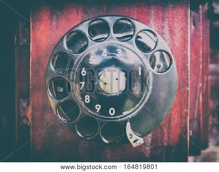 Rustic vintage wooden phone with dial pad