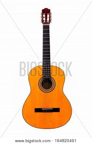 Acoustic guitar wallpaper isolated on white background
