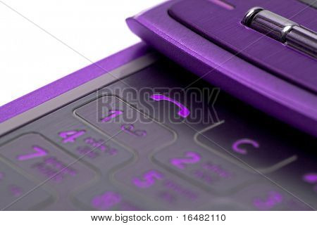 close-up of mobile phone over white background(shallow DOF)