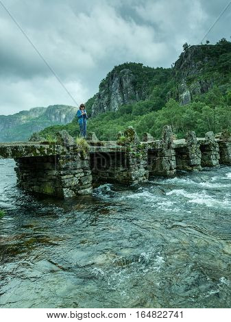 Tourist Woman On Bridge Terland Klopp In Norway