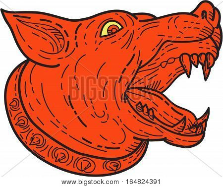 Mono line style illustration of a mad mastiff dog mongrel head barking viewed from the side set on isolated white background.