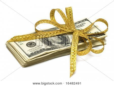 stack of dollars with golden ribbon