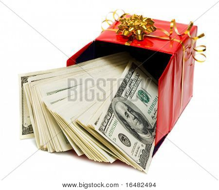 stack of dollars in red gift box