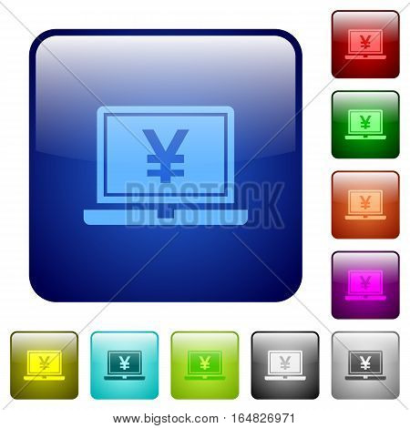 Laptop with yen sign icons in rounded square color glossy button set