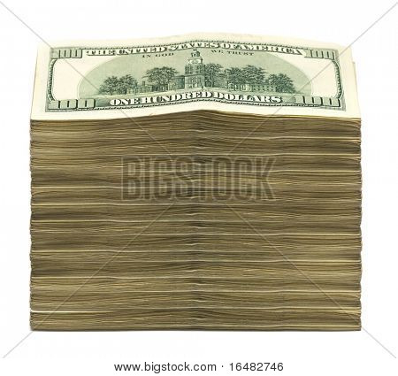 stack of dollars on white background