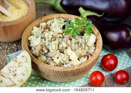 Vegetable couscous eggplant couscous crumbly cous cous with eggplant dietary vegetarian food traditional mediterranean cuisine