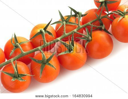 Branch with many red fresh tomatoes isolated on white closeup