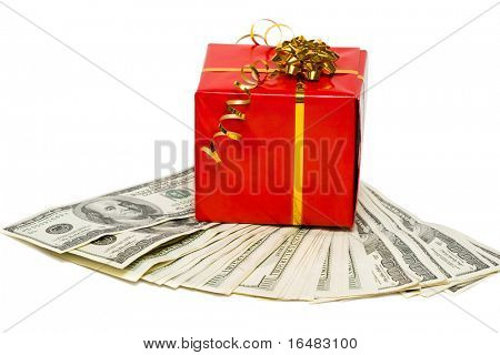 stack of dollars with red gift box