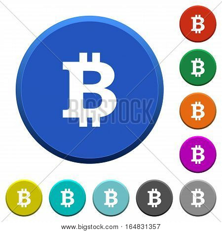 Bitcoin sign round color beveled buttons with smooth surfaces and flat white icons