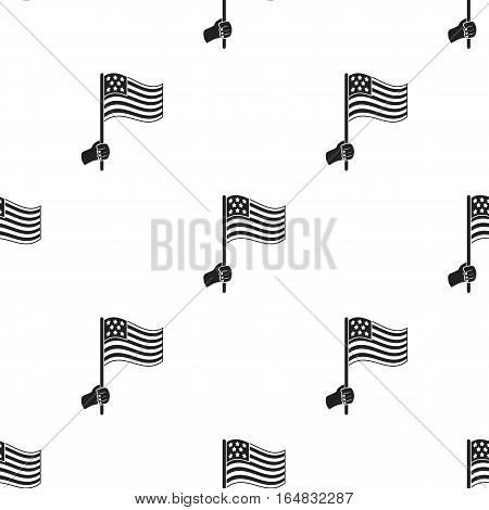 American flag icon in black style isolated on white background. Patriot day pattern vector illustration.