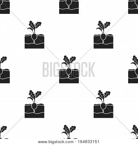 Radish icon in black style isolated on white background. Plant pattern vector illustration.