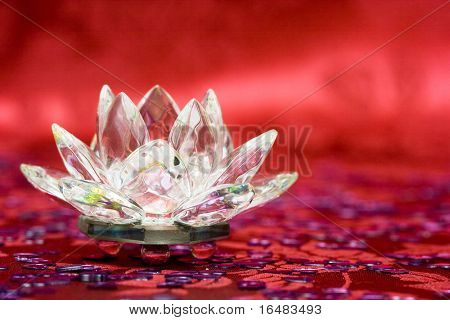 Diamond flower on red background
