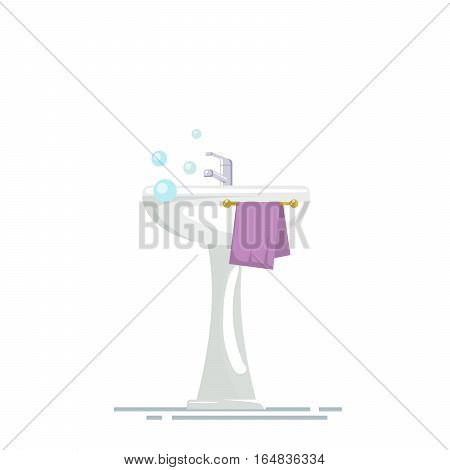 Sink with mixer tap and a towel in the bathroom, isolated on white background. Soap bubbles or foam.