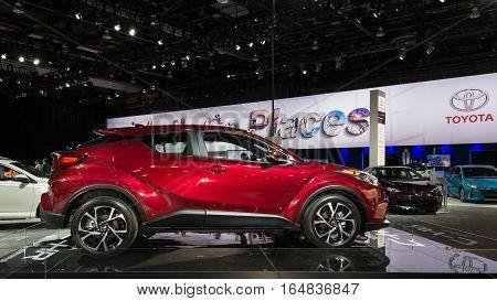 DETROIT MI/USA - JANUARY 9 2017: A 2018 Toyota C-HR SUV at the North American International Auto Show (NAIAS).