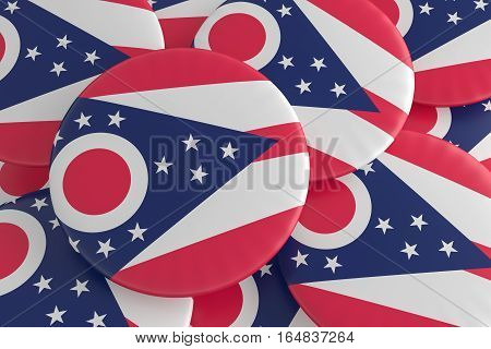 US State Buttons: Pile of Ohio Flag Badges 3d illustration