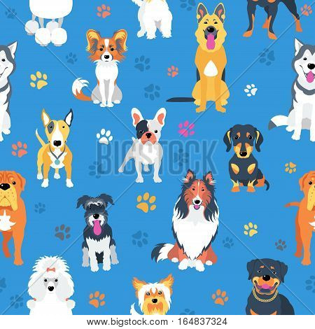 Vector seamless background with dogs flat design