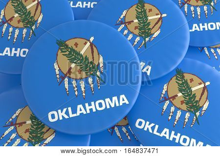 US State Buttons: Pile of Oklahoma Flag Badges 3d illustration