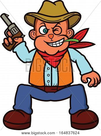 Monkey Cowboy with Gun Cartoon Illustration Isolated on White