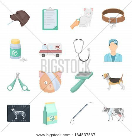 Veterinary clinic set icons in cartoon design. Big collection of veterinary clinic vector symbol stock illustration
