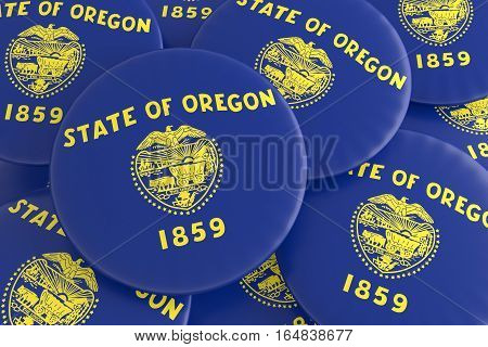 US State Buttons: Pile of Oregon Flag Badges 3d illustration