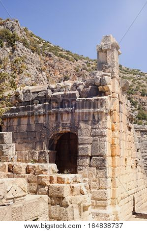 ancient stone ruins in the mountains Sunny day
