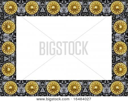 black modern frame with gold isolated on white background