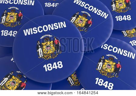US State Buttons: Pile of Wisconsin Flag Badges 3d illustration