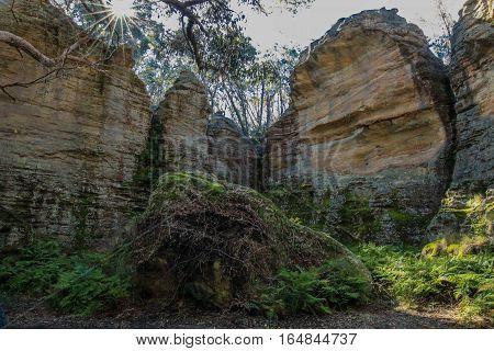Sun shines through to the Gardens of Stone in NSW, Australia