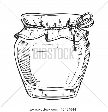 Mason jar freehand pencil drawing isolated on white background vector illustration. Organic nature farm food icon, traditional product monochrome sketch. Glass jar of jam, honey, butter and other.