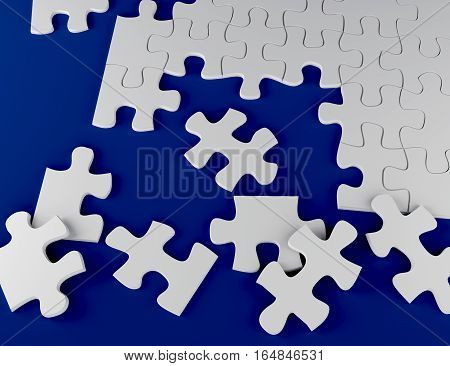white puzzle on blue background 3D rendering incomplete problem