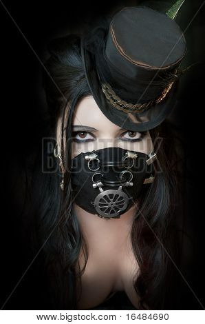 Model Wearing Steampunk Mask