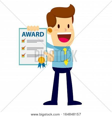 Businessman showing an award paper with a happy face
