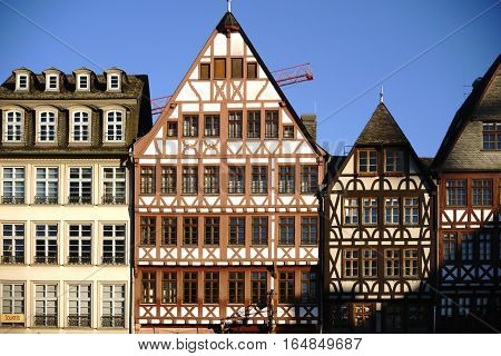 FRANKFURT, GERMANY - JANUARY 05: The half-timbered facades of the historic buildings on the east line of the Roman mountain the Saturday Mountain on January 05, 2017 in Frankfurt.