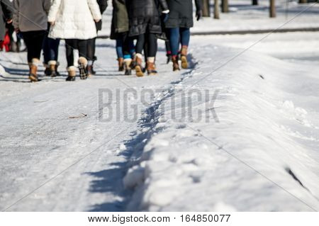 Group of women walking a trail on snow in winter landscape healthy lifestyle outdoor seasonal winter activity background image with copy space of Friends to get out and get fit resolutions