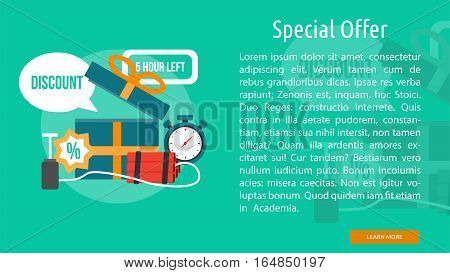Special Offer Conceptual Banner   Great flat illustration concept icon and use for business, people, marketing, working, idea, event and much more.