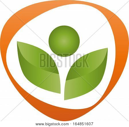 Person from leaves, man, fitness and nature logo
