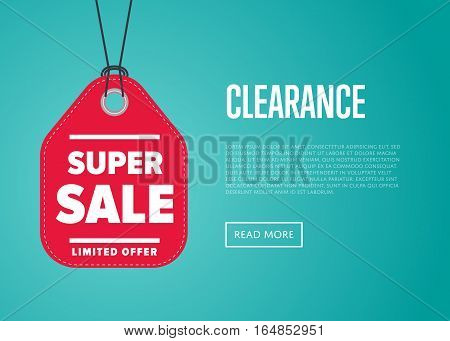Super sale banner with offer sticker vector illustration. Price clearance tag, special offer discount promo, advertisement retail label, exclusive shopping symbol. Modern graphic style offer sign