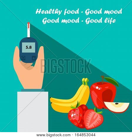 Very high quality original trendy vector flat illustration Blood test or glaucometer, glucose meter with healty food