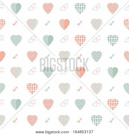Illustration of abstract heart shapes in coral and green gray color on a white background.