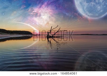 Fantasy Landscape With Driftwood, Huge Planet In The Sky, Galaxy And Comet.
